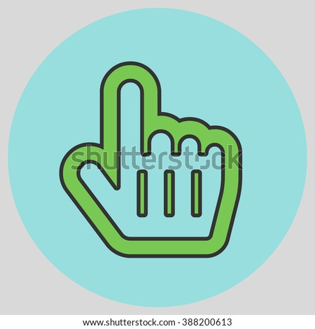 Flat design style. Mouse Pointer Hand For Computer Screen. Hand gesture. Vector illustration with pantone colors of the year 2016 Green Flash and Limpet Shell. - stock vector
