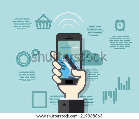 Flat design style smartphone with mobile payments from credit card - stock vector