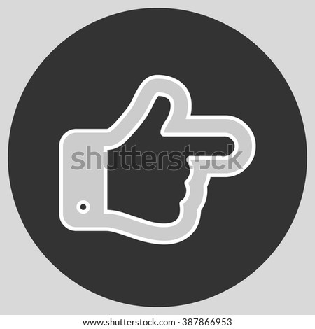 Flat design style. The index finger pointing right. Forefinger pointing to right. Hand gesture. Style is flat symbol. Silver color.  Black circle  background. - stock vector