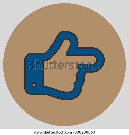 Flat design style. The index finger pointing right. Forefinger pointing to right. Hand gesture. Vector illustration with pantone colors of the year 2016 Snorkel Blue and Iced Coffee. - stock vector