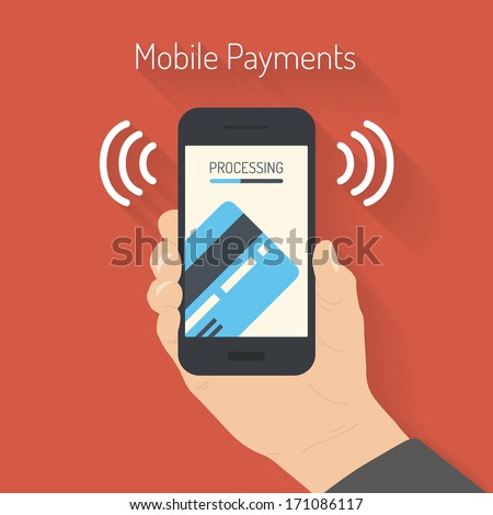 Flat design style vector illustration of modern smartphone with processing of mobile payments from credit card on the screen. Near field communication technology concept. Isolated on red background  - stock vector
