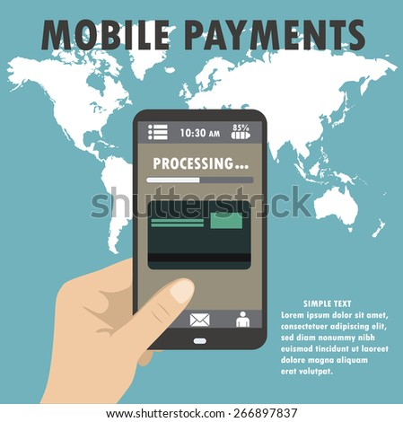 Flat design style vector illustration of modern smartphone with processing of mobile payments from credit card on the screen. Near field communication technology concept. - stock vector