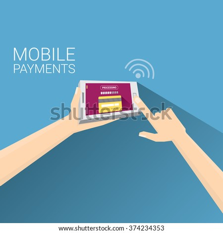 Flat design style vector illustration of modern smartphone with processing of mobile payments from credit card on the screen. Internet banking concept. wireless money transfer.  - stock vector