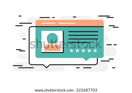 Flat design thin line concept of customer's reviews, vector illustration - stock vector