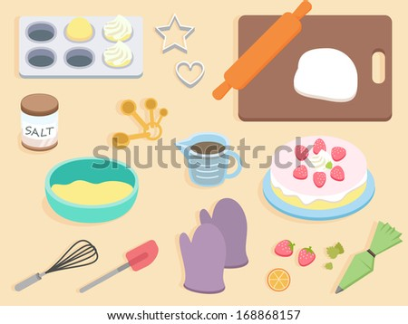 flat design - top view cook table - stock vector