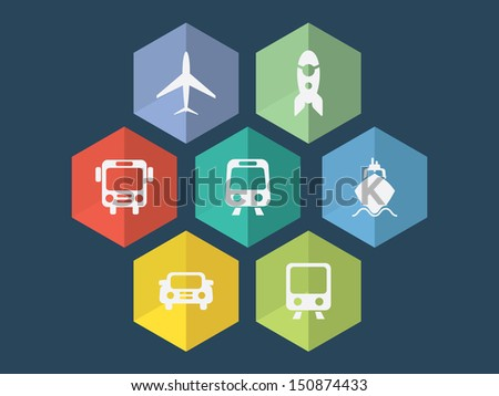 Flat design transport icons in editable vector format - stock vector