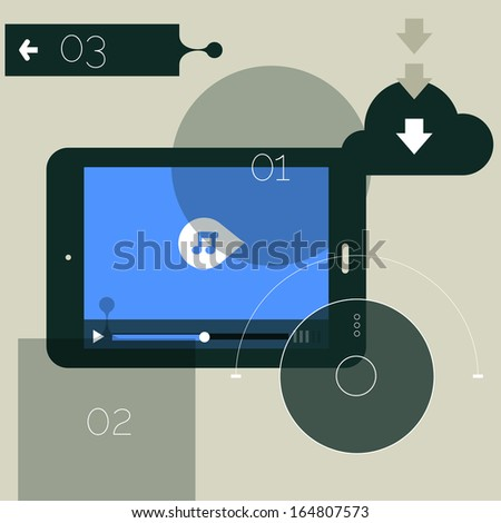 Flat design ui device abstract media player interface, EPS 10 - stock vector
