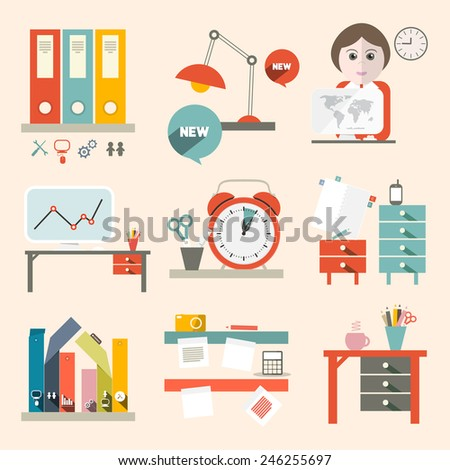 Flat Design UI Office Supply Vector Flat Design Illustration  - stock vector