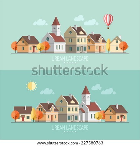 Flat design urban landscape. Autumn - vector illustration. - stock vector