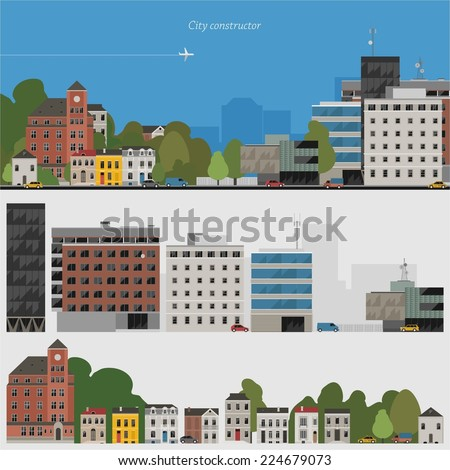 Flat design urban landscape illustration & set of elements - stock vector
