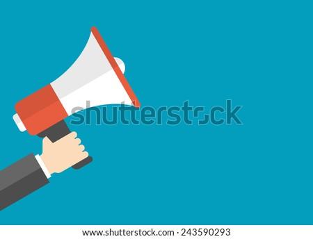 Flat design vector business illustration concept Digital marketing business man holding megaphone for website and promotion banners. - stock vector
