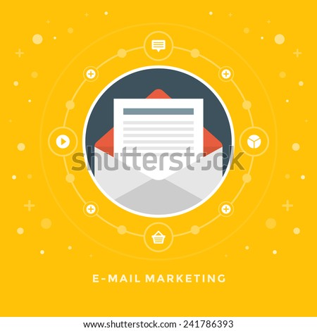 Flat design vector business illustration concept E-mail marketing open envelope and letter for website and promotion banners. - stock vector