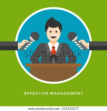 Flat design vector business illustration concept Effective management Business man interview for website and promotion banners.  - stock vector