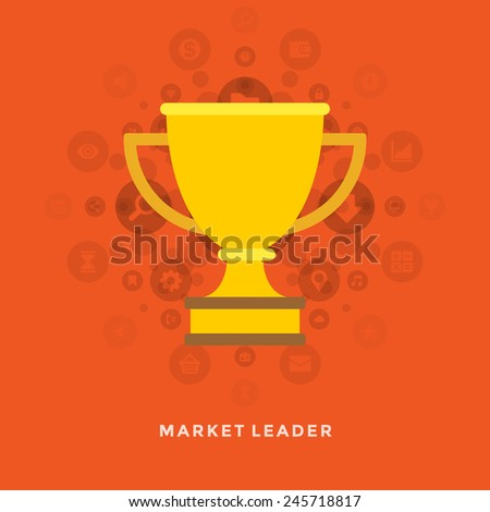 Flat design vector business illustration concept Market leader golden trophy cup for website and promotion banners.  - stock vector