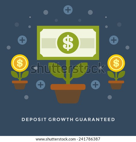 Flat design vector business illustration concept Money deposit growth as flowers for website and promotion banners. - stock vector