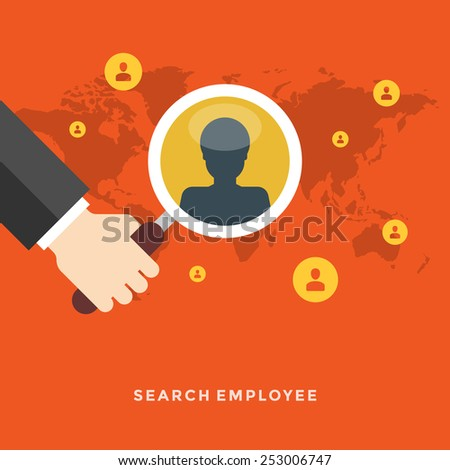 Flat design vector business illustration concept Search employee hand holding magnifier glass and user icons for website and promotion banners.  - stock vector