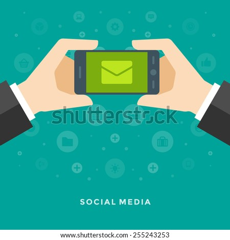 Flat design vector business illustration concept Social media hand holding smart phone and message for website and promotion banners.  - stock vector