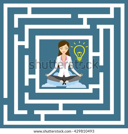 Flat design vector concept illustration. Business woman in lotus position with idea bulb. - stock vector