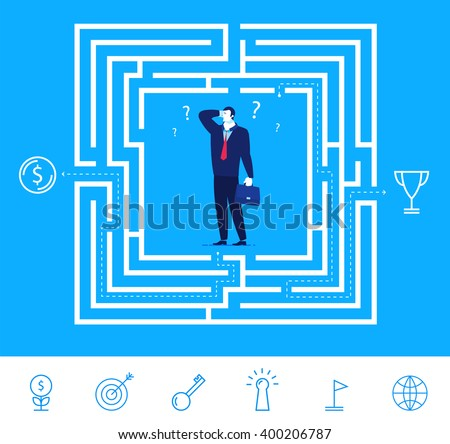 Flat design vector concept illustration. Businessman thinking how to pass the maze and get the money or cup. Choose the right path. Vector clipart. Icons set. - stock vector