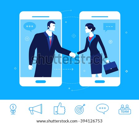 Flat design vector concept illustration. Good deal. Negotiations businessman and businesswoman.  Good profit. Vector clipart. Icons set. - stock vector