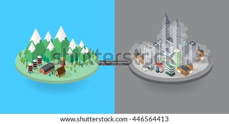 Flat design vector concept illustration: urban and village landscape. Environmental pollution and environment protection, different concepts - stock vector