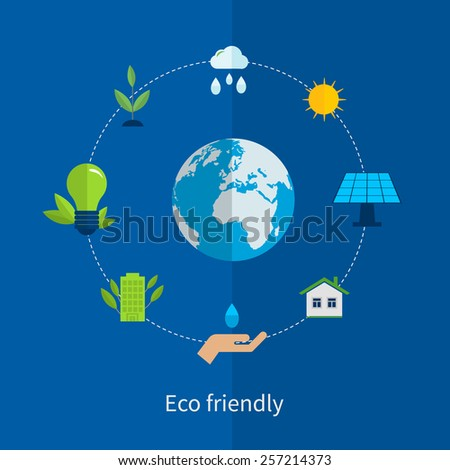 Flat design vector concept illustration with icons of ecology, environment and eco friendly energy - stock vector