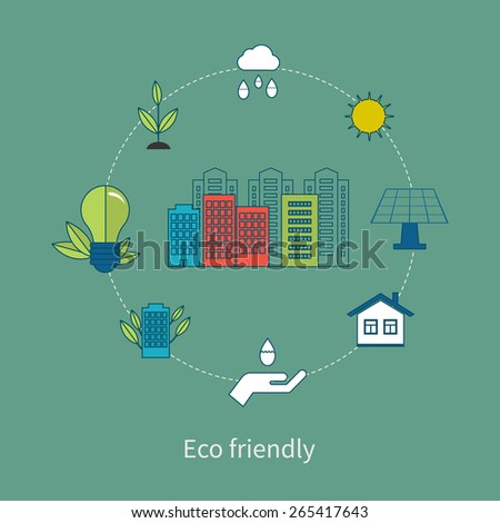 Flat design vector concept illustration with icons of ecology, environment and eco friendly energy. Concept of green building and clean energy. Thin line icons. Modern flat line design element vector - stock vector