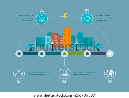 Flat design vector concept illustration with icons of ecology, environment, eco friendly energy and green technology. Thin line icons  - stock vector