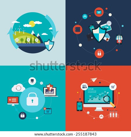 Flat design vector concept illustration with icons of ecology, environment, social network security, data protection and analytical research  - stock vector