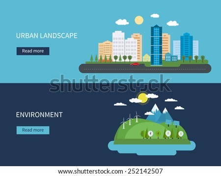 Flat design vector concept illustration with icons of environment, green energy and  urban landscape - stock vector