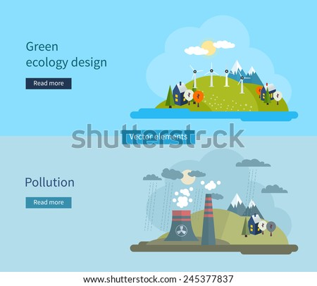 Flat design vector concept illustration with icons of green ecology and pollution. Vector illustration. - stock vector
