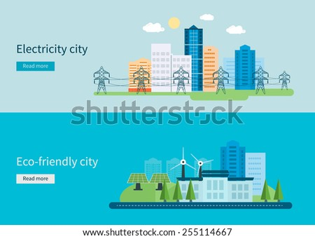 Flat design vector concept illustration with icons of green energy, Eco friendly city and electricity city. Vector illustration - stock vector