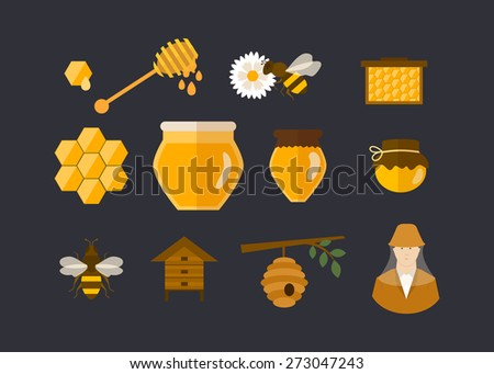 Flat design vector concept illustration with icons of  products bee-keeper garden. Vector illustration - stock vector