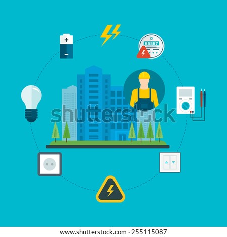 Flat design vector concept illustration with icons of professional electrician and and electricity city. Vector illustration. - stock vector