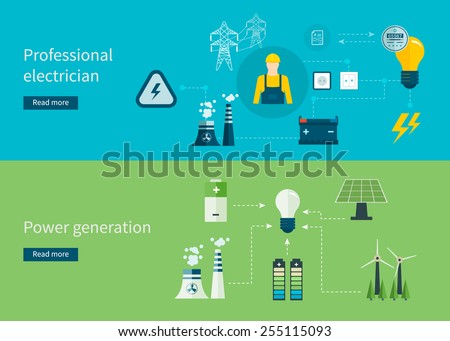 Flat design vector concept illustration with icons of professional electrician and power generation. Vector illustration. - stock vector