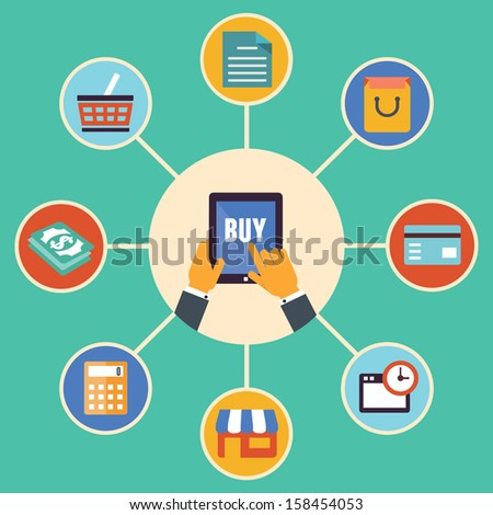 Flat design vector concept of e-commerce symbols, online shopping and buying - vector illustration - stock vector