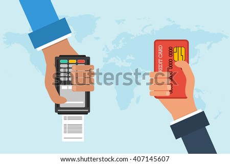 Flat design vector concept of mobile banking. Two hands with credit card and atm terminal on background map of the world. Transferring money and payment - stock vector