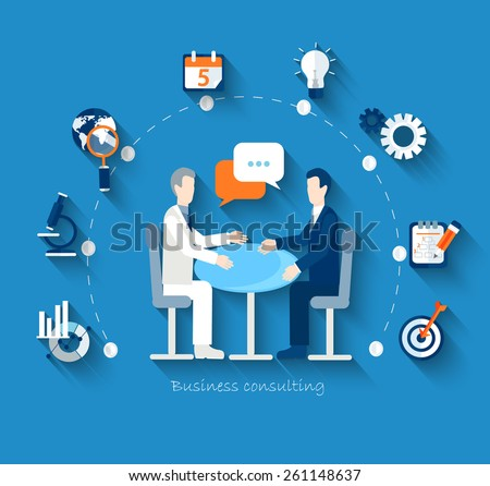 Flat design vector concepts for business, finance, strategic management, investment, natural resources, consulting, teamwork, great idea. Businessmen conduct negotiations at a table. - stock vector