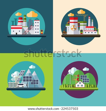 Flat design vector ecology concept icons set for environment, green energy and nature pollution designs - stock vector