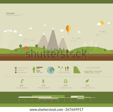 Flat design vector ecology concept infographic - stock vector