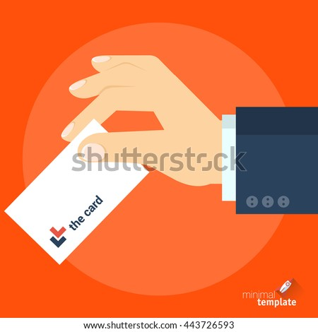 Flat design vector hand with business card icon. Business card in the hand vector mock up of icon for application interface, web design and presentation. Hand with ID, credit card, ticket vector icon. - stock vector