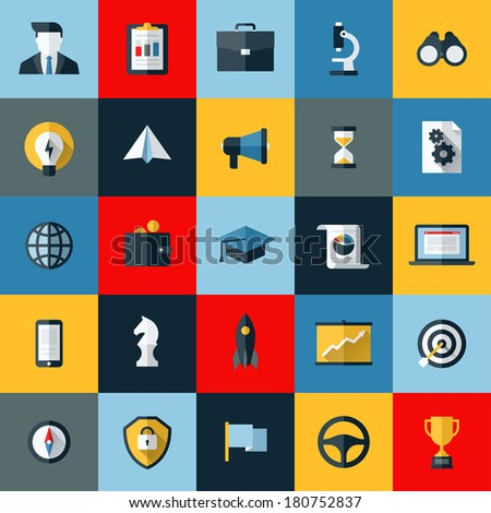 Flat design vector icons set of SEO website searching optimization and social media marketing  - stock vector