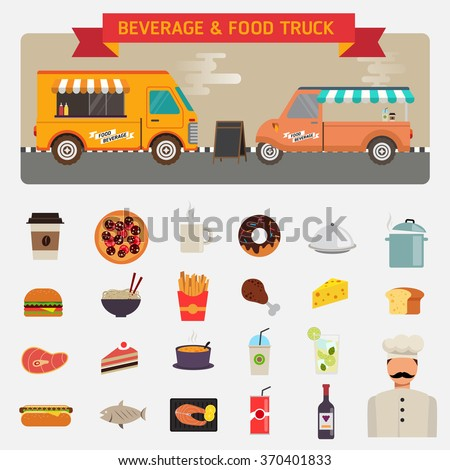 Flat design vector icons set of wagon full of tasty summer food, meals, drinks beverage materials - stock vector