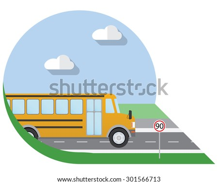 Flat design vector illustration city Transportation, school bus, side view icon - stock vector