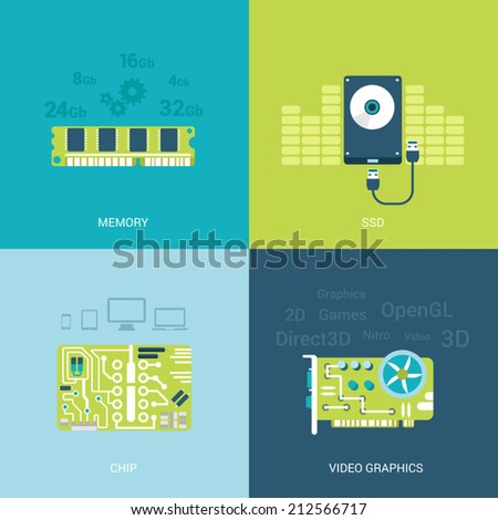 Flat design vector illustration concept computer spare parts electronics. Memory chips, ssd, hdd, video card graphics. Big flat icons collection. - stock vector