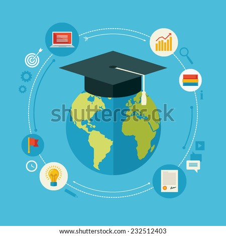 Flat design vector illustration concept for distance education, online learning, certificate programs, international educational projects, start of successful career isolated on bright background - stock vector