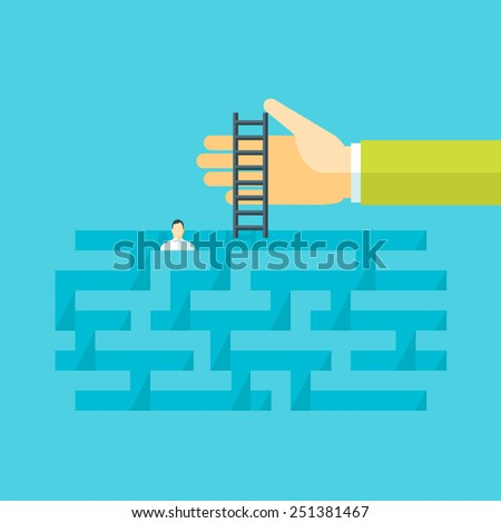 Flat design vector illustration concept for help in a complicated situation, providing support, solving problem, finding solution, business consulting, crisis management isolated on bright background - stock vector