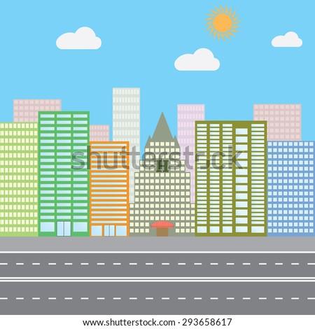 Flat design vector illustration concept for urban landscape city skyscrapers - stock vector