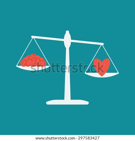 Flat design vector illustration concept. Libra, on the same side of which the heart, and the brain, representing the choice between the mind and the soul. Logic and lyrics - stock vector