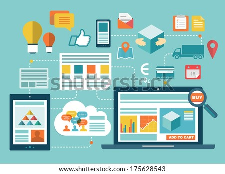 Flat design vector illustration concept of computer and connected mobile devices with links of transmission information and cloud computing service on stylish background. The online buying process - stock vector